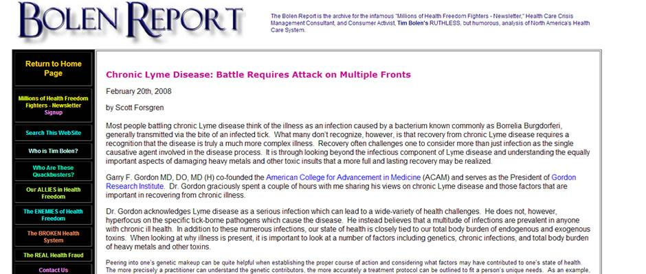 Garry Gordon - Chronic Lyme Disease: Battle Requires Attack On Multiple Fronts (Bolen Report)